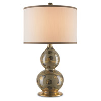 Currey & Company Winterthur Imlay 1 Light Table Lamp in Olive / Black / Gold / Antique Brass with Eggshell Shantung 6227