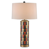 Currey & Company Winterthur Alexis 1 Light Table Lamp in Black / Gold / Burnt Orange / Antique Brass with Off White Shantung 6233