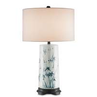 Currey & Company Fatima 1 Light Table Lamp in White and Blue 6235