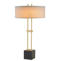 Currey & Company Longferry 2 Light Table Lamp in Dutch Gold Leaf and Black 6245