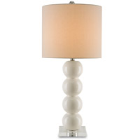 Caroline 32 inch 150 watt Eggshell Crackle and Clear Table Lamp Portable Light