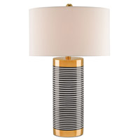 Hamish 31 inch 150 watt Gold and Black and White Stripes Table Lamp Portable Light