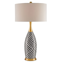 Hester 34 inch 150 watt Gold and Black and White Stripes Table Lamp Portable Light