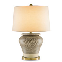 Winkworth 27 inch 150 watt Cream with Brown and Antique Brass Table Lamp Portable Light