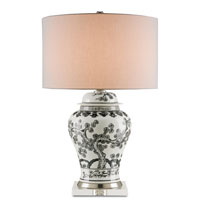 Currey & Company Wilde 1 Light Table Lamp in Off White with Black and Satin Nickel 6285