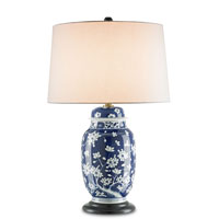 Currey & Company Emily 1 Light Table Lamp in Navy Blue with White and Black 6286