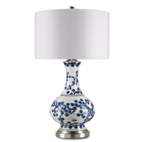 Currey & Company Jardin 1 Light Table Lamp in Off White with Blue and Satin Nickel 6287