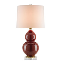 Currey & Company Firebloom 1 Light Table Lamp in Wine Red and Clear 6288