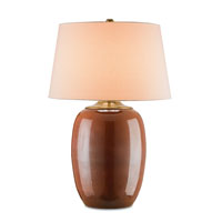 Currey & Company Vitality 1 Light Table Lamp in Dark Red and Antique Brass 6289