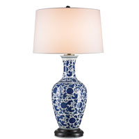Currey & Company Vera 1 Light Table Lamp in White with Blue and Black 6293