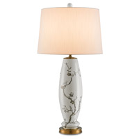 Currey & Company Primrose 1 Light Table Lamp in White with Silver Floral and Antique Brass 6306