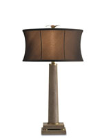 Currey & Company Langston 1 Light Table Lamp in Brown Shagreen/ Brass 6307