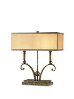 Currey & Company Windfall 2 Light Desk Lamp in Antique Silver Leaf 6326 photo thumbnail