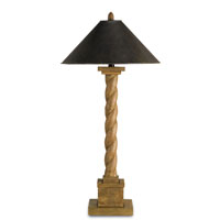 Currey & Company Guidebook 2 Light Table Lamp in Antique Gold Leaf 6331