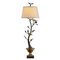 Currey & Company Mulberry 1 Light Table Lamp in Old Bronze/Rustic Wood 6353