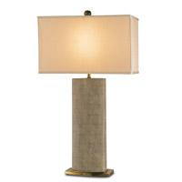 Currey & Company 6355 Rutherford 35 inch 150 watt Tan Sharkskin/Brass Table Lamp Portable Light