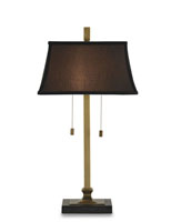 Currey & Company Matchpoint 2 Light Table Lamp in Brass/Black 6362