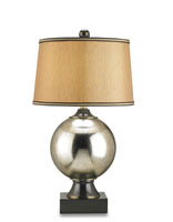 Currey & Company Corona 1 Light Table Lamp in Mercury/Black Bronze 6365
