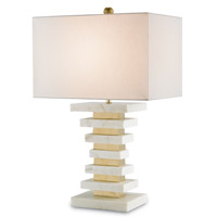 Currey & Company Octave 1 Light Table Lamp in Antique White Marble and Brass 6376