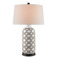 Barakat 32 inch 150 watt Gray and White Table Lamp Portable Light