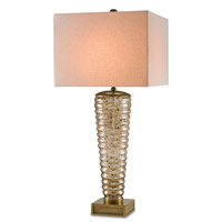 Currey & Company Tremolo 1 Light Table Lamp in Light Brown Glass and Antique Brass 6385