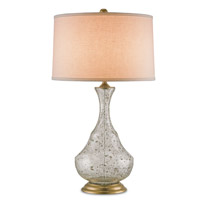 Trillo 31 inch 150 watt Clear Bubbled Glass and Brass Table Lamp Portable Light