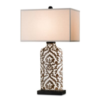 Currey & Company Alibaba 1 Light Table Lamp in Distressed Black and Oporto 6395