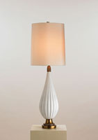 Currey & Company Francesca 1 Light Table Lamp in White/Antique Brass 6443