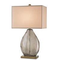 Currey & Company 6450 Brooke 30 inch 150 watt Dark Smoky and Coffee Brass Table Lamp Portable Light