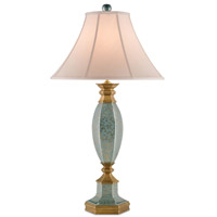 Currey & Company Callicarpa 1 Light Table Lamp in Blue Crackle with Gold and Antique Brass 6452