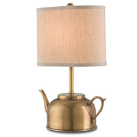 Darjeeling 17 inch 75 watt Vintage Brass Table Lamp Portable Light