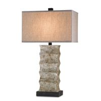 Currey & Company Wootton 1 Light Table Lamp in Distressed Black and Annato Antique Silver 6462