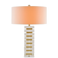 Falsetto 30 inch 150 watt Clear Crystal and Brass Table Lamp Portable Light