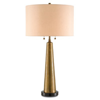 Currey & Company Hyde Park 2 Light Table Lamp in Vintage Brass / Black with Gold Shantung 6491