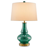Currey & Company Viridian 1 Light Table Lamp in Emerald and Antique Brass 6499