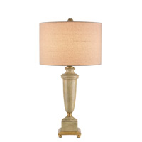 Currey & Company Morgan 1 Light Table Lamp in Washed White and Chinois Antique Gold Leaf 6529