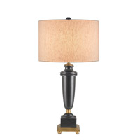 Morgan 29 inch 150 watt Antique Black with Chinois Antique Gold Leaf Table Lamp Portable Light