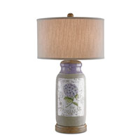 Currey & Company Avondale 1 Light Table Lamp in Natural/Chestnut with Off White Linen Shades 6545