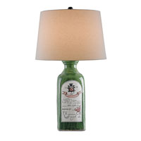 Currey & Company Cavanaugh 1 Light Table Lamp in Dark Green/Distressed Black with Off White Linen Shades 6554