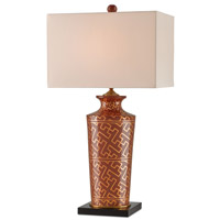 Currey & Company Winterthur 1 Light Table Lamp in Coral and Antique Brass and Black 6556