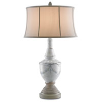 Currey & Company Ladywell 1 Light Table Lamp in Washed Gray with Cloud Cream Silk Shades 6560
