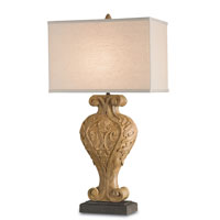 Currey & Company Hourglass 1 Light Table Lamp in Mole and Antiquity Gold Leaf 6564