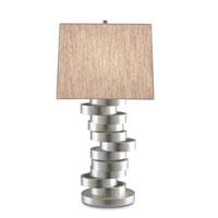 Currey & Company Maxham 1 Light Table Lamp in Contemporary Silver Leaf with Oatmeal Linen Shades 6565