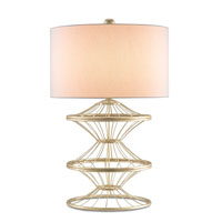 Currey & Company Rollick 1 Light Table Lamp in Dutch Gold with Off White Linen Shades 6602