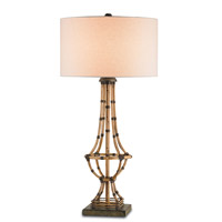 Currey & Company Palm Beach 1 Light Table Lamp in Dirty Silver and Natural 6609