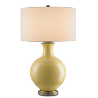 Currey & Company Solon 1 Light Table Lamp in Yellow/Antique Brass with Vanilla Linen Shades 6615