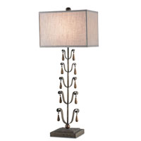 Currey & Company Gypsy 1 Light Table Lamp in Pyrite Bronze with Natural Linen Shades 6617