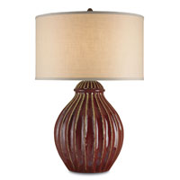 Currey & Company Jester 1 Light Table Lamp in Red 6628
