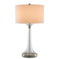 Currey & Company Grandview 1 Light Table Lamp in Clear/Antique Brass with Vanilla Linen Shades 6635