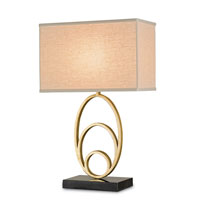 Currey & Company Firelight 1 Light Table Lamp in Contemporary Gold Leaf and Black Pen Crackle 6640